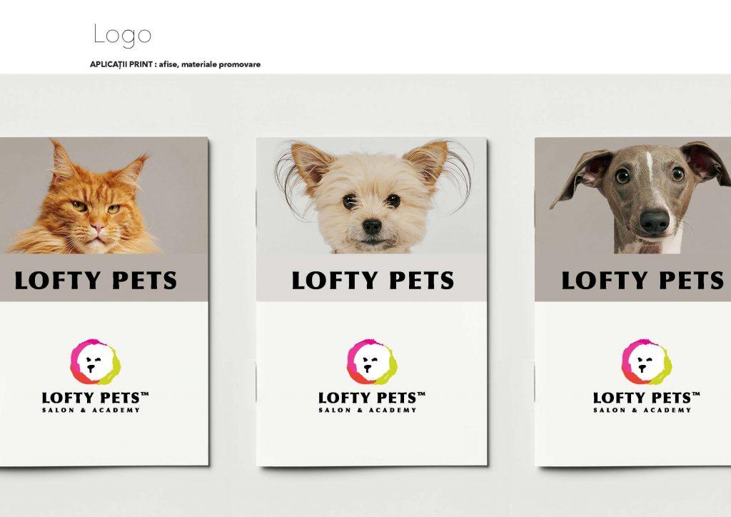 Design print pentru Lofty Pets, groomer canin Bucuresti, client agentia Connect Media.